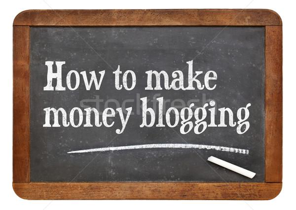 Gyártmány pénz blogolás szöveg klasszikus tanul Stock fotó © PixelsAway