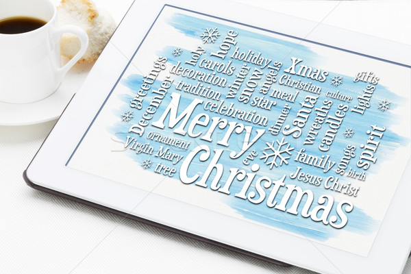 Merry Christmas greetings word cloud Stock photo © PixelsAway