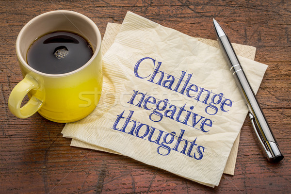 Herausfordern negative Gedanken inspirierend Rat Erinnerung Stock foto © PixelsAway