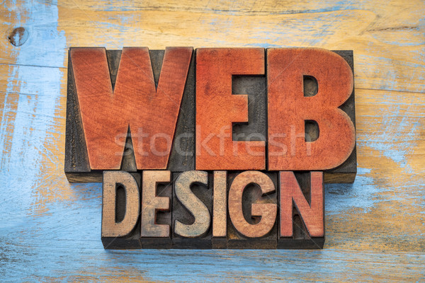 web design word abstract in wood type  Stock photo © PixelsAway