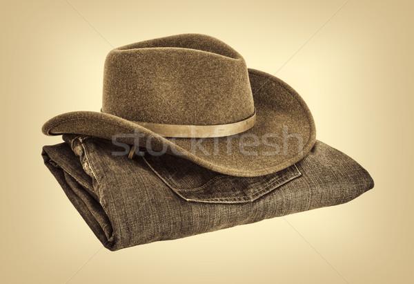 Cowboyhoed jeans wol gevouwen retro sepia Stockfoto © PixelsAway