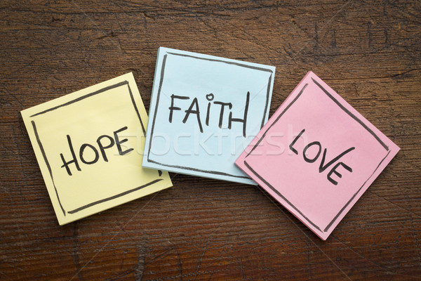 faith, love and hope on sticky notes Stock photo © PixelsAway