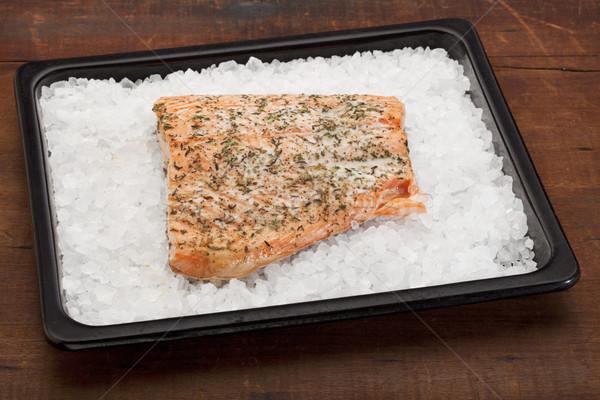 salmon baked on rock salt Stock photo © PixelsAway