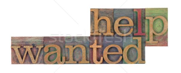 Helpen gezocht woorden vintage houten Stockfoto © PixelsAway