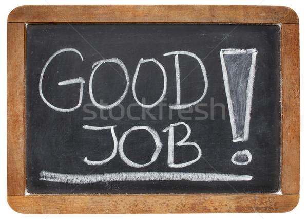 Bene lavoro complimenti bianco gesso calligrafia Foto d'archivio © PixelsAway