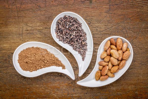 Cacao bonen poeder top Stockfoto © PixelsAway