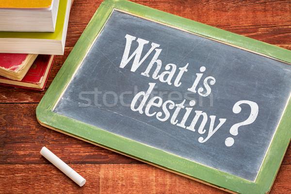 O que destino pergunta lousa branco giz Foto stock © PixelsAway