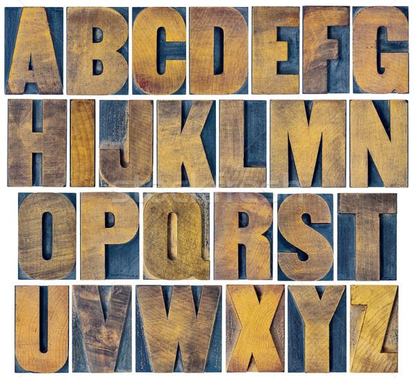 alphabet set in vintage letterpress wood type Stock photo © PixelsAway