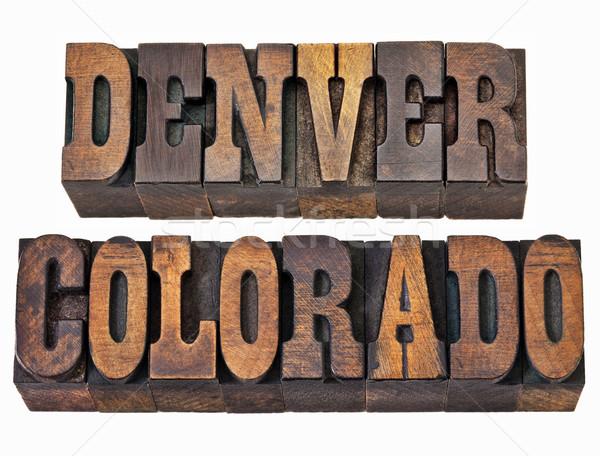 Колорадо древесины тип изолированный слово Vintage Сток-фото © PixelsAway