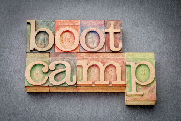 Stock photo: boot camp word abstract in wood type