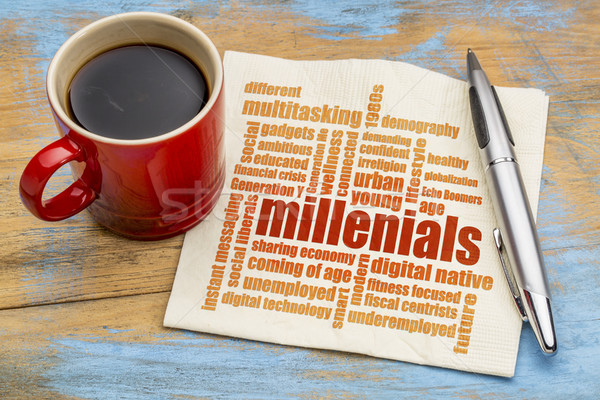 millenials word cloud on napkin Stock photo © PixelsAway