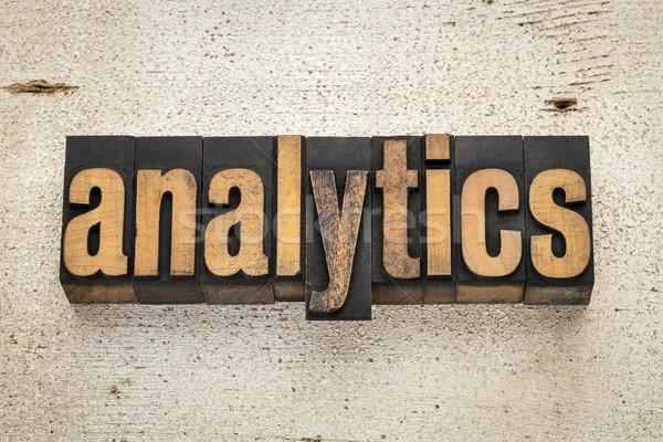 Analitika szó fa klasszikus magasnyomás Stock fotó © PixelsAway