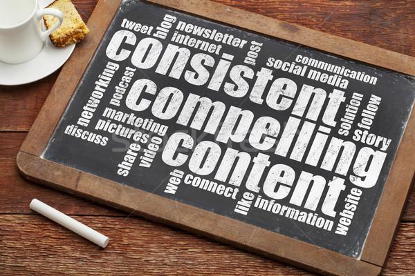 последовательный содержание рекомендация маркетинга слово облако Сток-фото © PixelsAway