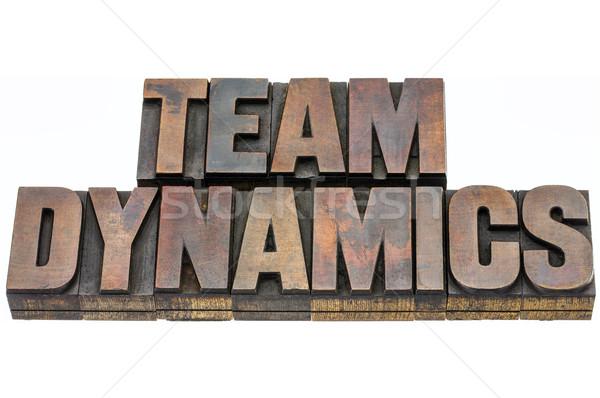 Team dynamica hout type geïsoleerd tekst Stockfoto © PixelsAway