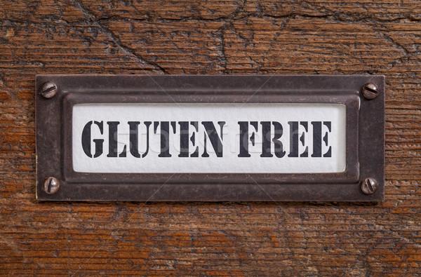 Glutensiz etiket dosya dolap bronz grunge Stok fotoğraf © PixelsAway