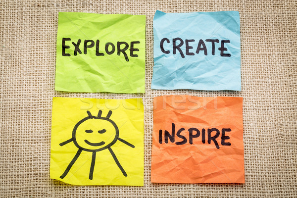 explore, create, inspire and smile reminder Stock photo © PixelsAway