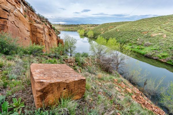 Oude zandsteen meer wal reservoir fort Stockfoto © PixelsAway