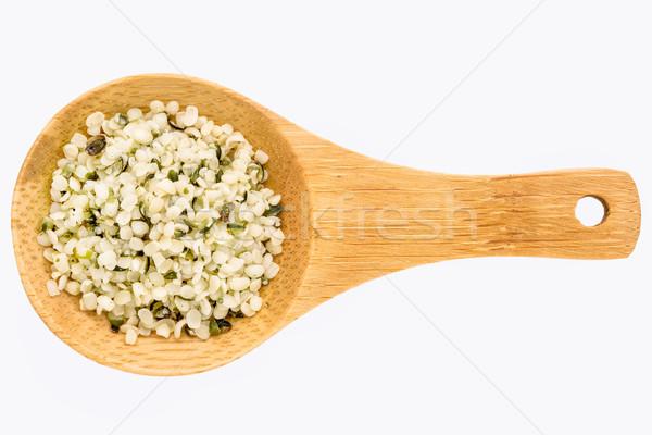 hemp seed hearts on wooden spoon Stock photo © PixelsAway