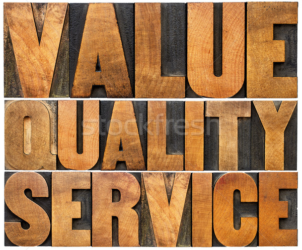 value, quality, service typography Stock photo © PixelsAway