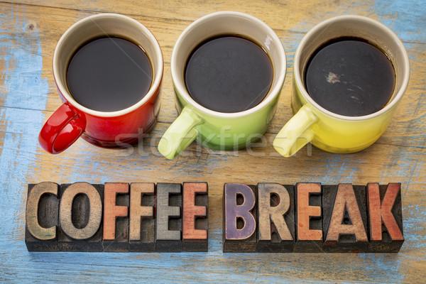 Kávészünet szalag fa klasszikus magasnyomás Stock fotó © PixelsAway