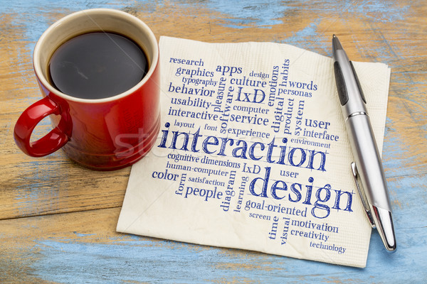 interaction design word cloud on napkin Stock photo © PixelsAway