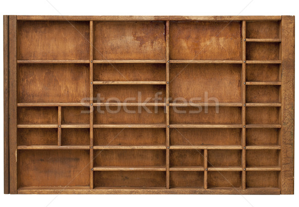 Vintage impressora gaveta madeira numeroso isolado Foto stock © PixelsAway