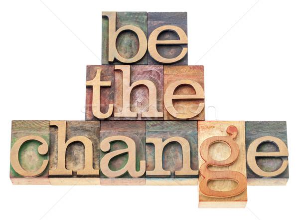 Mudar madeira tipo inspiração isolado texto Foto stock © PixelsAway