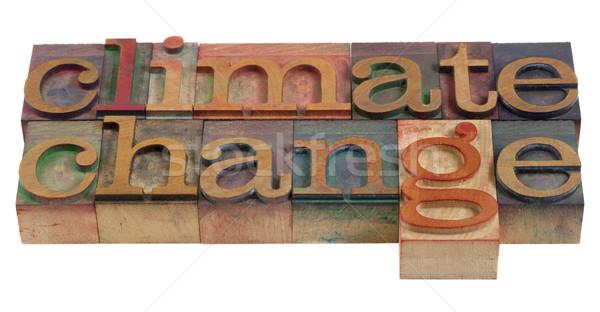 Zmiany klimatyczne słowa vintage drewna Zdjęcia stock © PixelsAway
