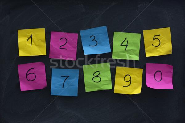 Arab számjegyek színes cetlik iskolatábla kézzel írott Stock fotó © PixelsAway