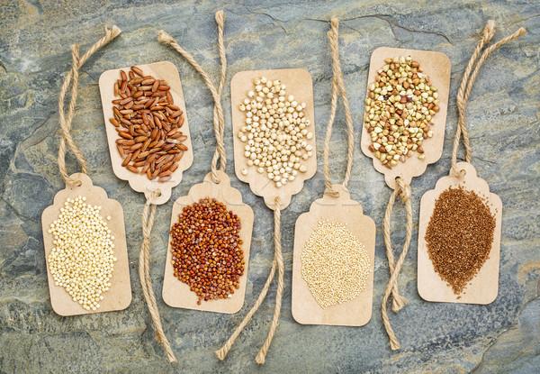 Egészséges gluténmentes magvak absztrakt barna rizs Stock fotó © PixelsAway
