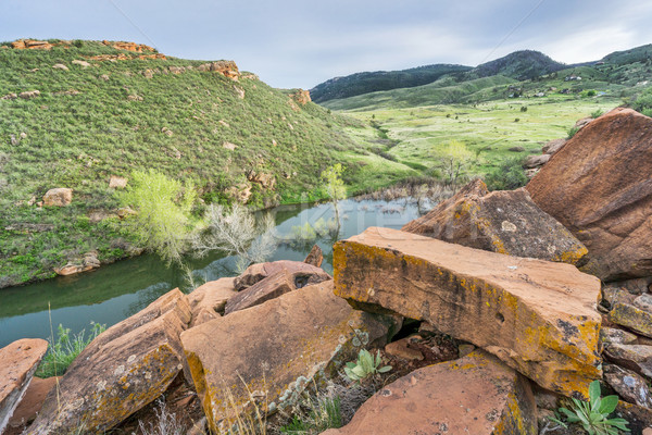 sandstone blaocks and mountain valley Stock photo © PixelsAway