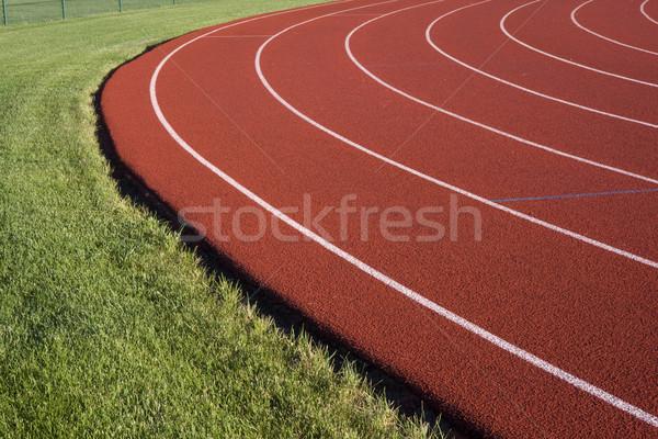 Zdjęcia stock: Uruchomiony · czerwony · powierzchnia · krzywa · zielona · trawa · sportu