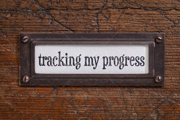 tracking my progress - file cabinet label Stock photo © PixelsAway