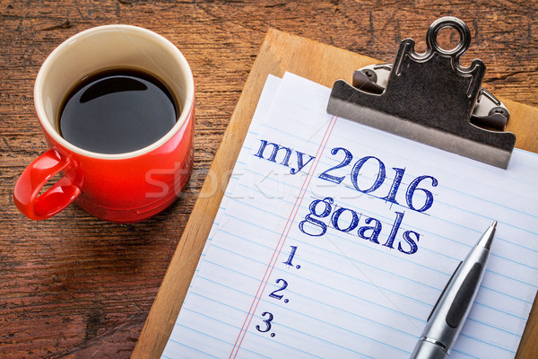 2016 goals on blackboard on clipboard Stock photo © PixelsAway