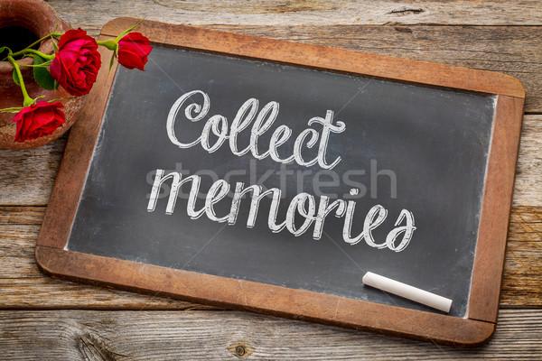 Herinneringen Blackboard witte krijt tekst vintage Stockfoto © PixelsAway