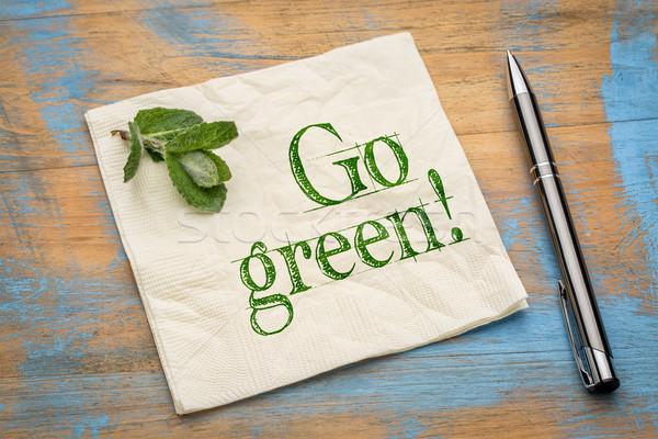 Zöld üzenet szalvéta bátorítás friss borsmenta Stock fotó © PixelsAway