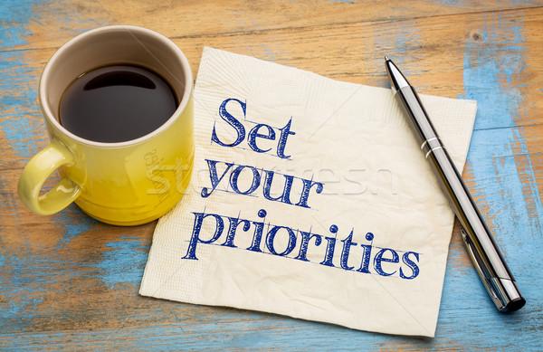Conjunto lembrete letra guardanapo copo café expresso Foto stock © PixelsAway