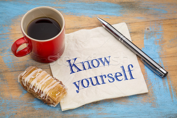 Know yourself concept on napkin Stock photo © PixelsAway