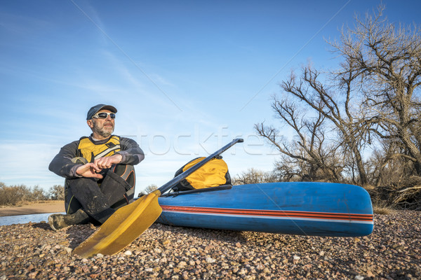 stand up paddling on a river Stock photo © PixelsAway