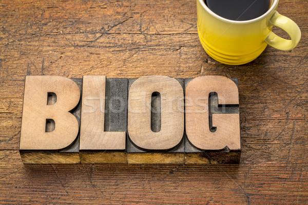 Stok fotoğraf: Blog · kelime · soyut · ahşap · tip · bağbozumu