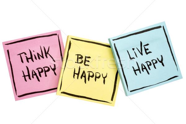 Zdaniem żyć szczęśliwy pozytywny przypomnienie pismo Zdjęcia stock © PixelsAway