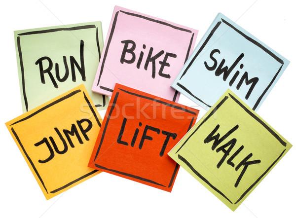 Zdjęcia stock: Uruchomić · rowerów · pływać · skok · Wyciąg · chodzić