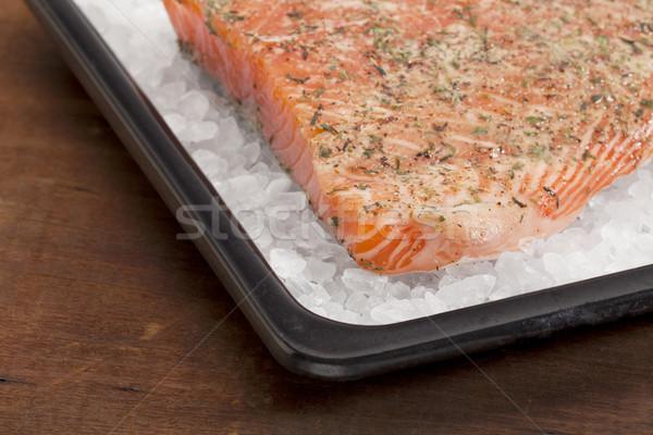 baking salmon on rock salt Stock photo © PixelsAway