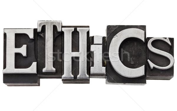 Etica parola metal tipo isolato vintage Foto d'archivio © PixelsAway