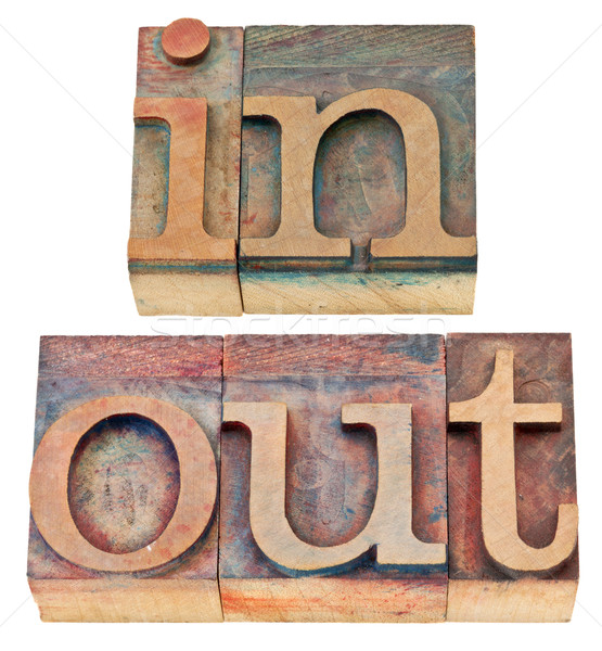 in and out word in wood type Stock photo © PixelsAway