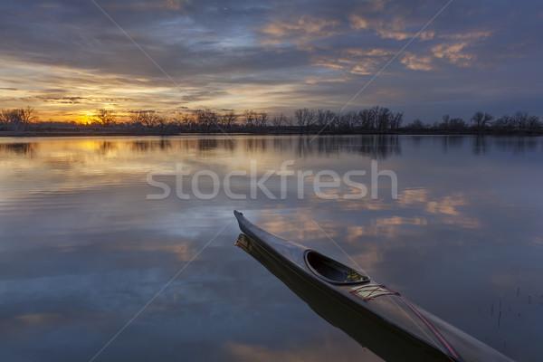 日の出 カヤック スリム 海 準備 トレーニング ストックフォト © PixelsAway