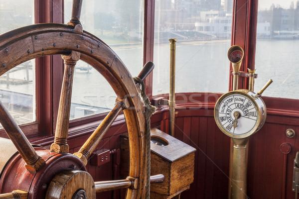 Vintage schip stuur motor brug metaal Stockfoto © PixelsAway