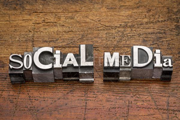 Stock photo: social media  metal type
