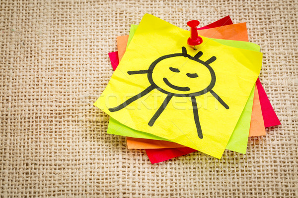 smiling sun on sticky note Stock photo © PixelsAway