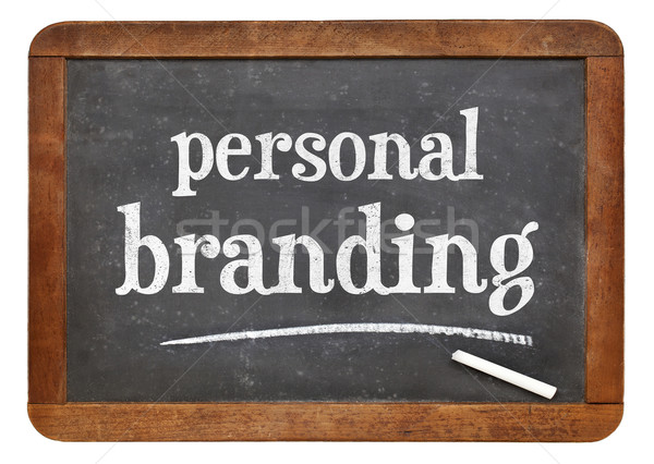 Pessoal marca lousa assinar branco giz Foto stock © PixelsAway